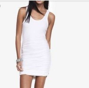 Women's Express White Ruched Tank Dress Medium